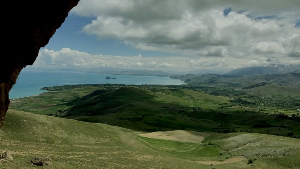 A view from the cave to Lake Van and Akhtamar Island